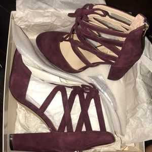 Brand new maroon Marc Fisher lace up block heel